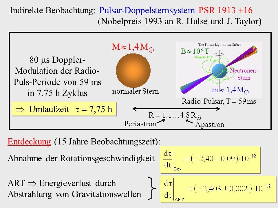 Indirekte Beobachtung: Pulsar-Doppelsternsystem PSR 1913 
