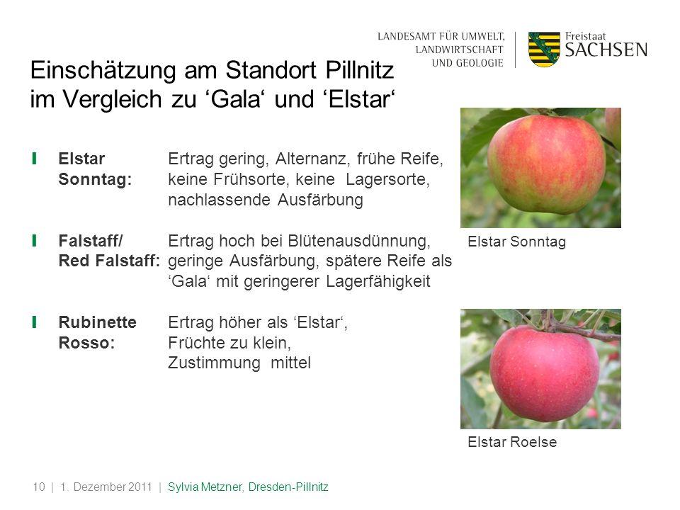 Einschätzung am Standort Pillnitz im Vergleich zu 'Gala' und 'Elstar'