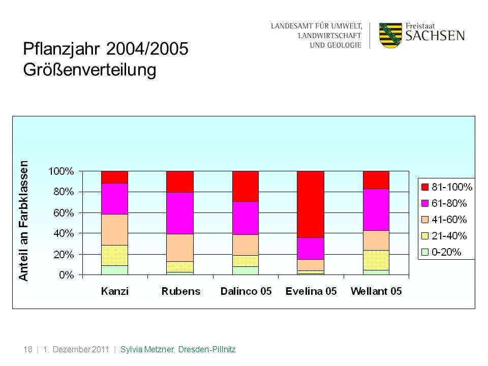 Pflanzjahr 2004/2005 Größenverteilung