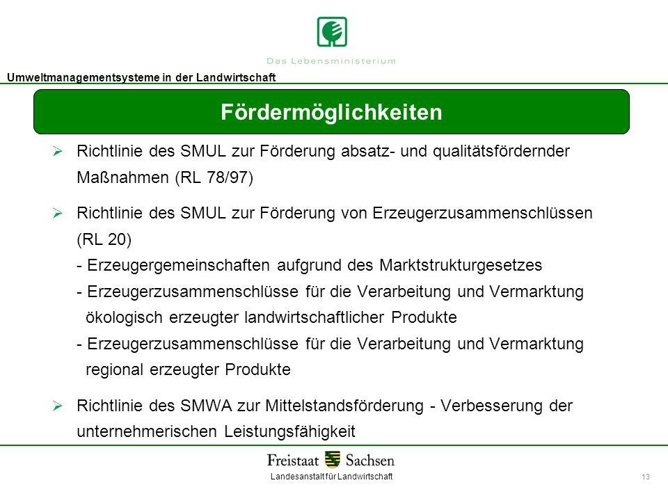 Fördermöglichkeiten Richtlinie des SMUL zur Förderung absatz- und qualitätsfördernder Maßnahmen (RL 78/97)