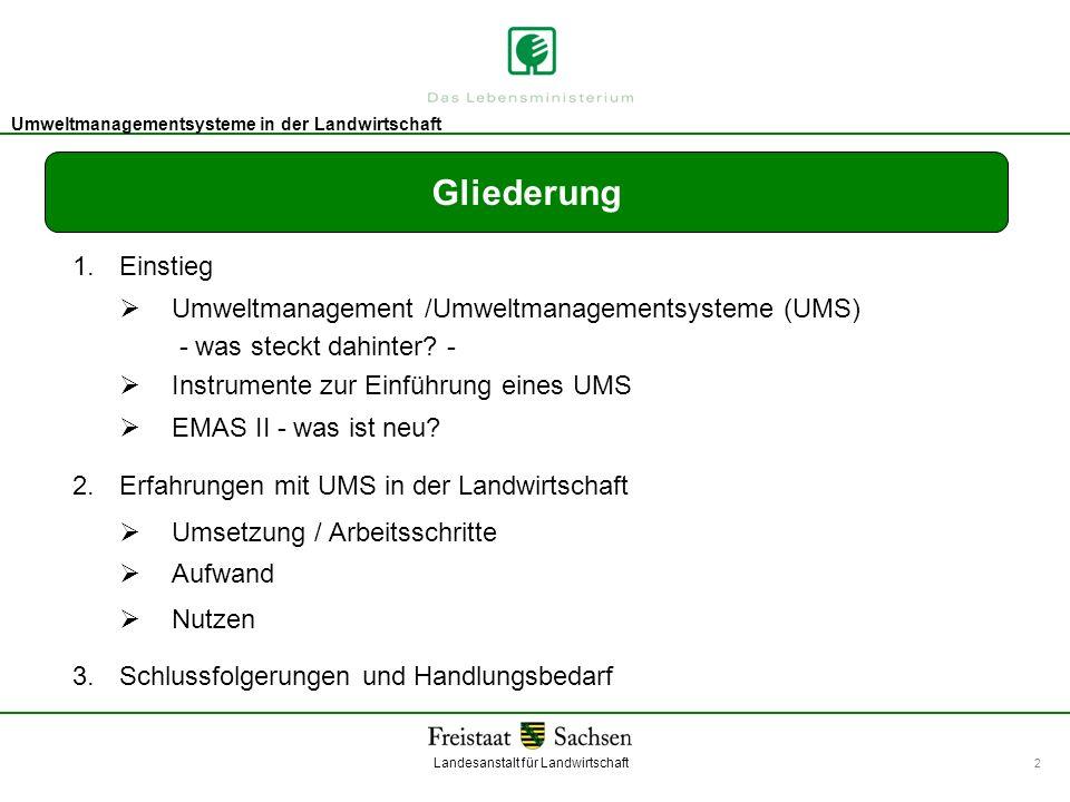 Gliederung 1. Einstieg.  Umweltmanagement /Umweltmanagementsysteme (UMS) - was steckt dahinter -
