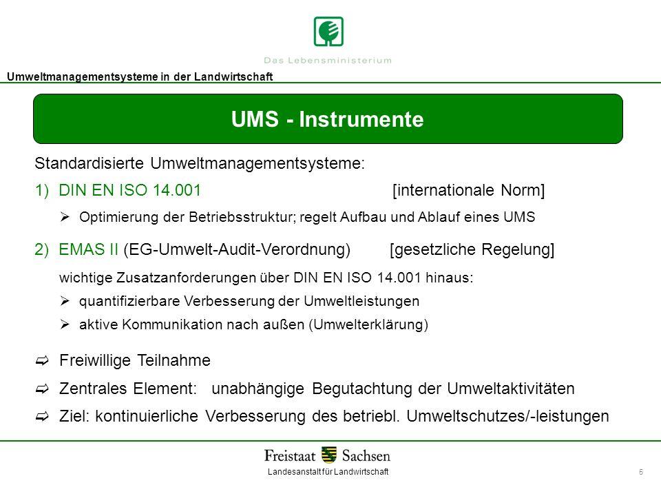 UMS - Instrumente Standardisierte Umweltmanagementsysteme: