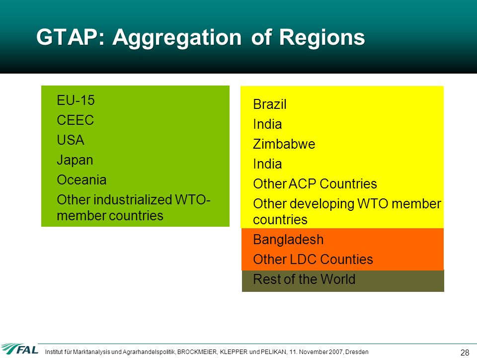 GTAP: Aggregation of Regions