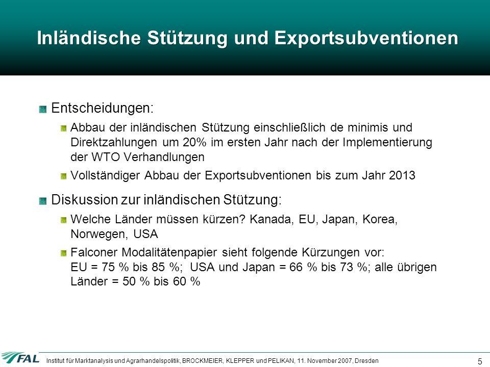 Inländische Stützung und Exportsubventionen