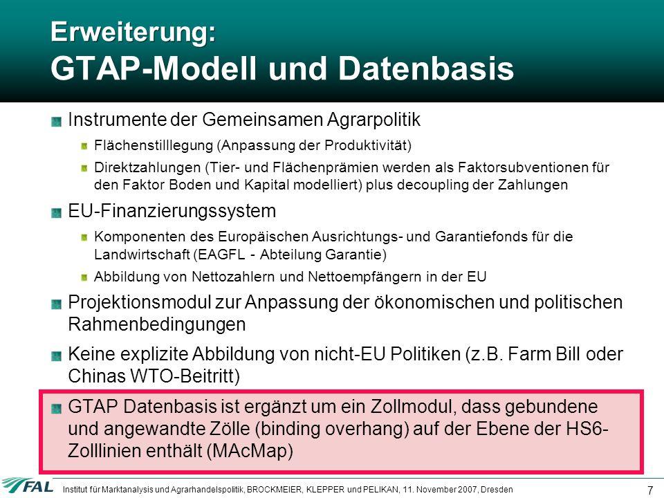 Erweiterung: GTAP-Modell und Datenbasis
