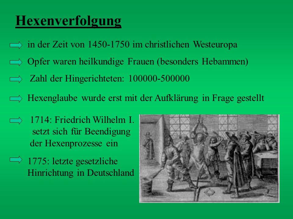 Hexenverfolgung in der Zeit von 1450-1750 im christlichen Westeuropa