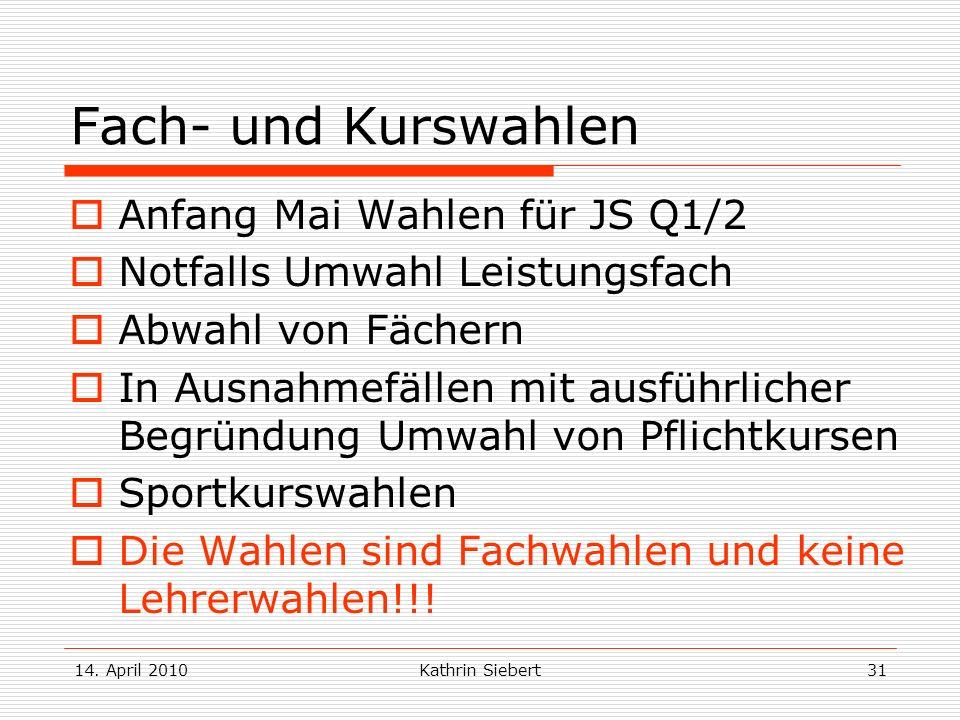 Fach- und Kurswahlen Anfang Mai Wahlen für JS Q1/2