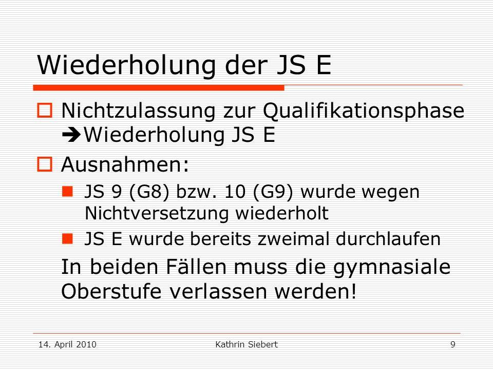 Wiederholung der JS E Nichtzulassung zur Qualifikationsphase Wiederholung JS E. Ausnahmen: