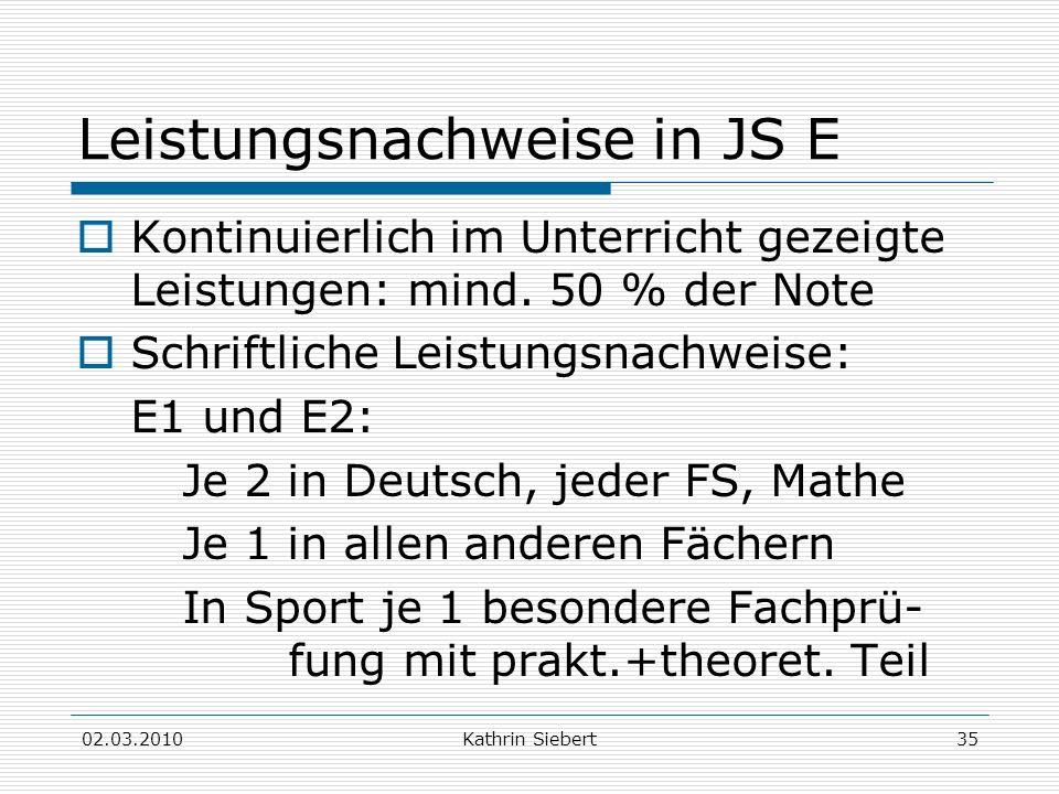 Leistungsnachweise in JS E