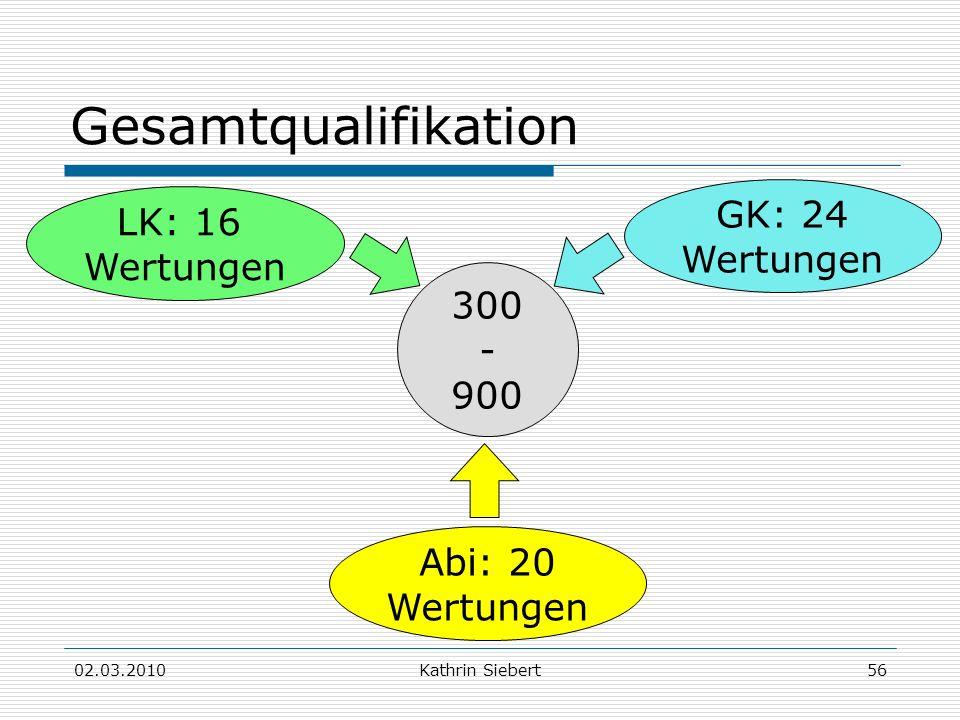 Gesamtqualifikation GK: 24 LK: 16 Wertungen Wertungen 300 - 900