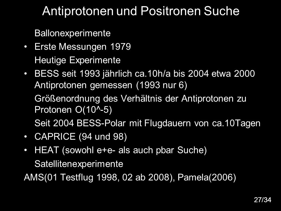 Antiprotonen und Positronen Suche