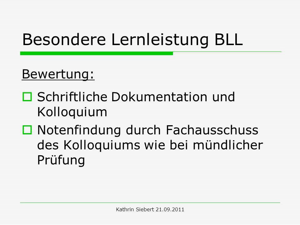 Besondere Lernleistung BLL