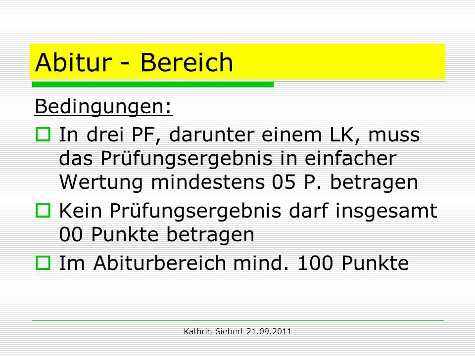Abitur - Bereich Bedingungen:
