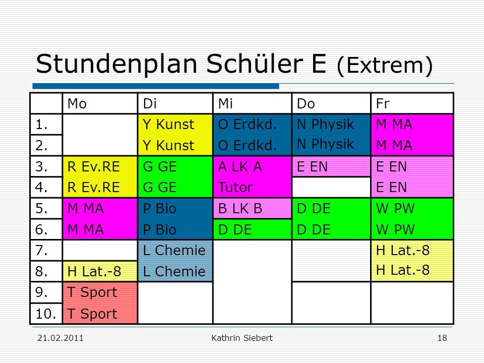 Stundenplan Schüler E (Extrem)