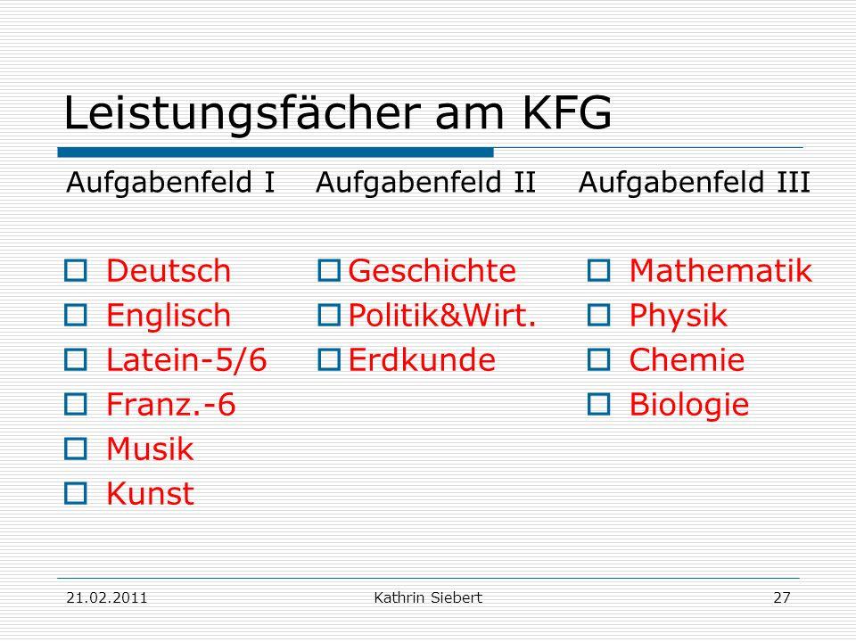 Leistungsfächer am KFG
