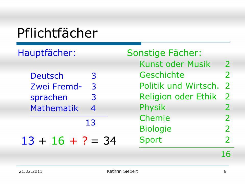 Pflichtfächer 13 + 16 + = 34 Hauptfächer: Sonstige Fächer: