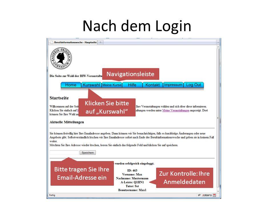 """Nach dem Login Navigationsleiste Klicken Sie bitte auf """"Kurswahl"""