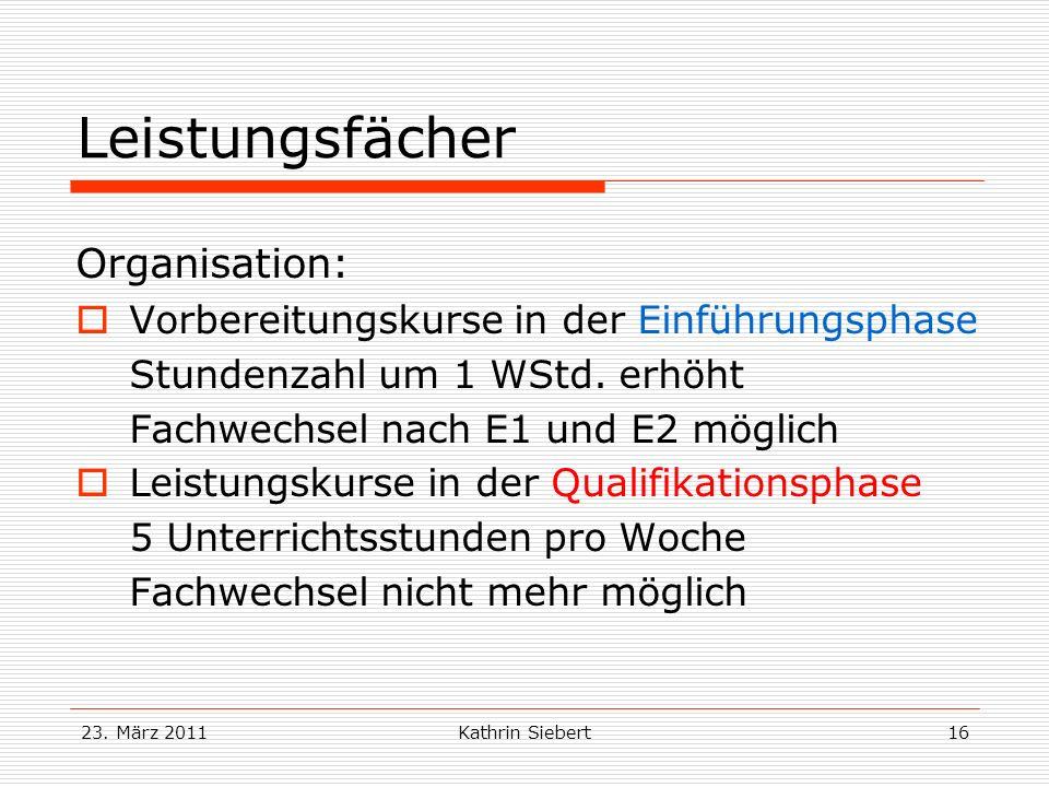 Leistungsfächer Organisation: