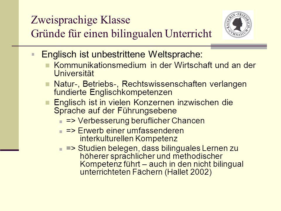 Zweisprachige Klasse Gründe für einen bilingualen Unterricht
