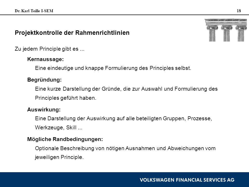 Projektkontrolle der Rahmenrichtlinien