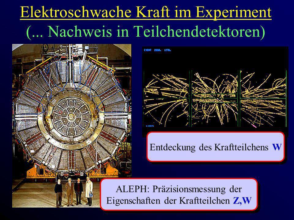 Elektroschwache Kraft im Experiment (... Nachweis in Teilchendetektoren)