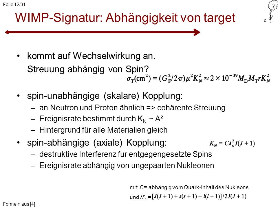 WIMP-Signatur: Abhängigkeit von target