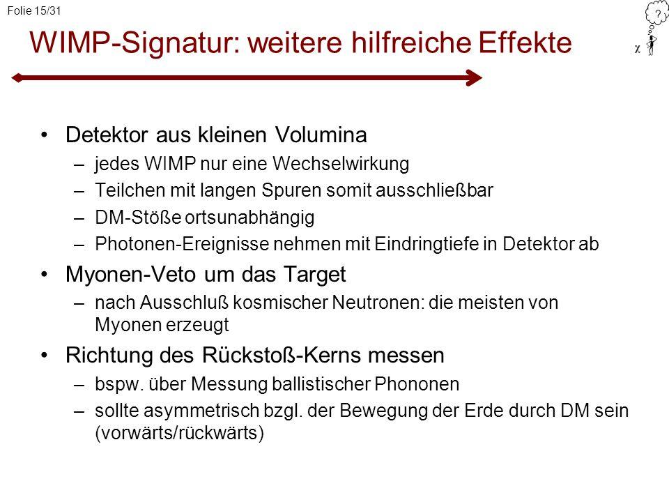 WIMP-Signatur: weitere hilfreiche Effekte
