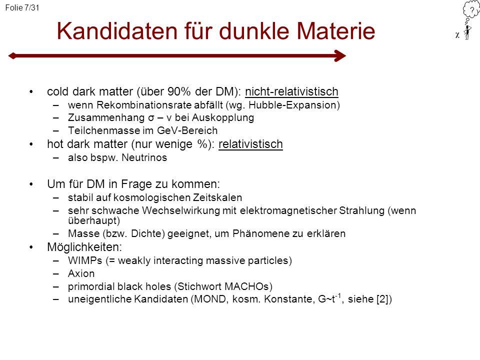 Kandidaten für dunkle Materie