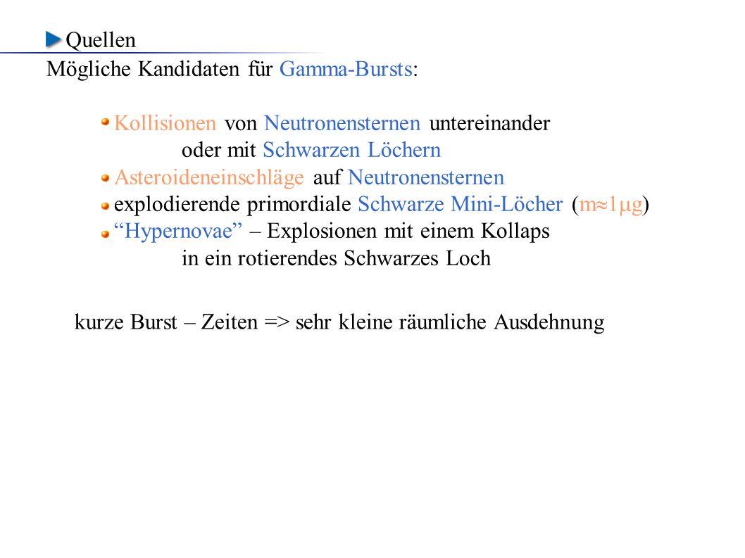 Quellen Mögliche Kandidaten für Gamma-Bursts: Kollisionen von Neutronensternen untereinander. oder mit Schwarzen Löchern.