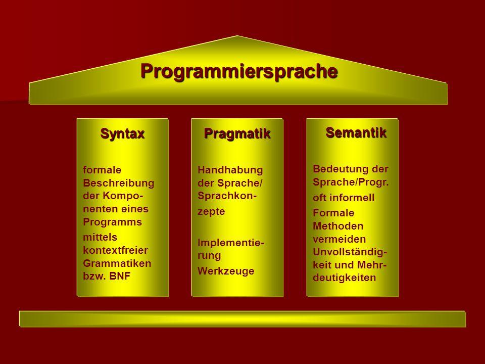 Programmiersprache Syntax Pragmatik Semantik