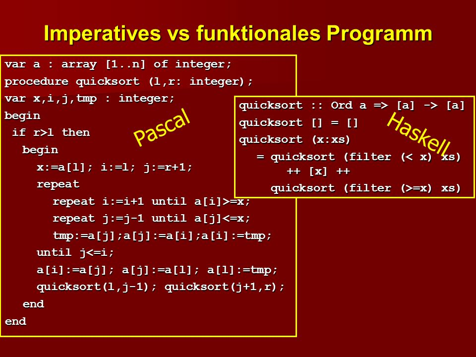 Imperatives vs funktionales Programm