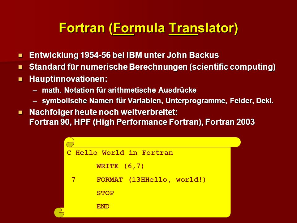Fortran (Formula Translator)