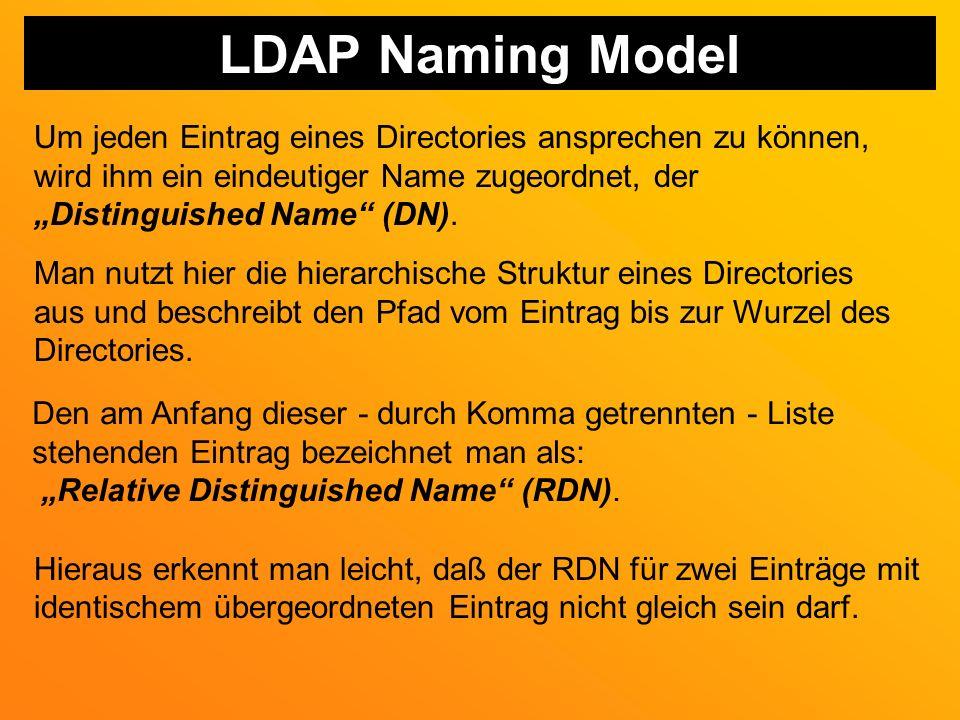 LDAP Naming Model Um jeden Eintrag eines Directories ansprechen zu können, wird ihm ein eindeutiger Name zugeordnet, der.