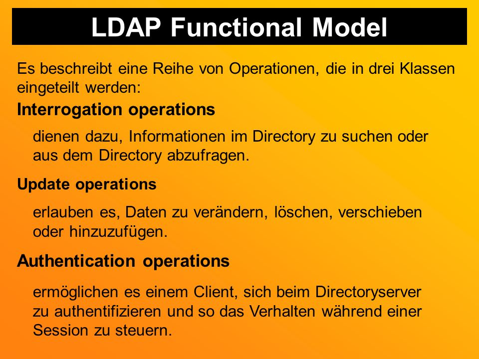 LDAP Functional Model Interrogation operations