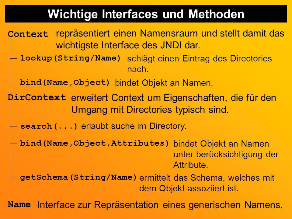Wichtige Interfaces und Methoden