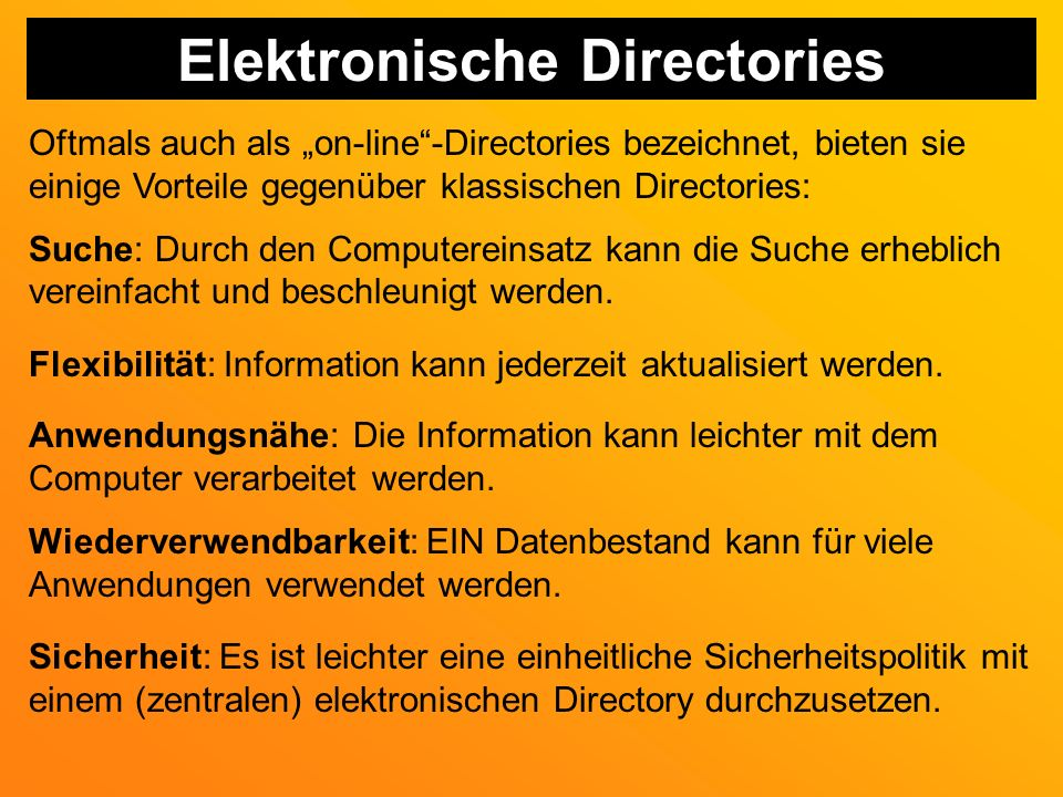 Elektronische Directories