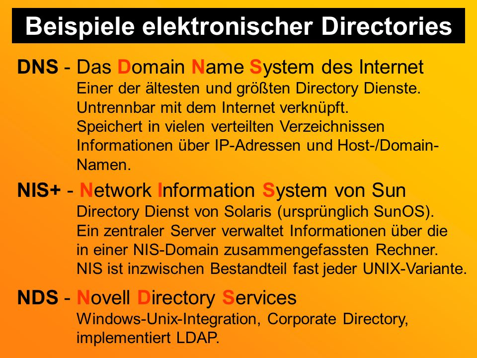 Beispiele elektronischer Directories