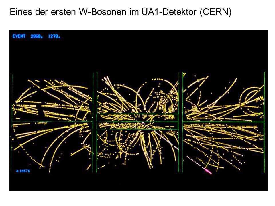 Eines der ersten W-Bosonen im UA1-Detektor (CERN)