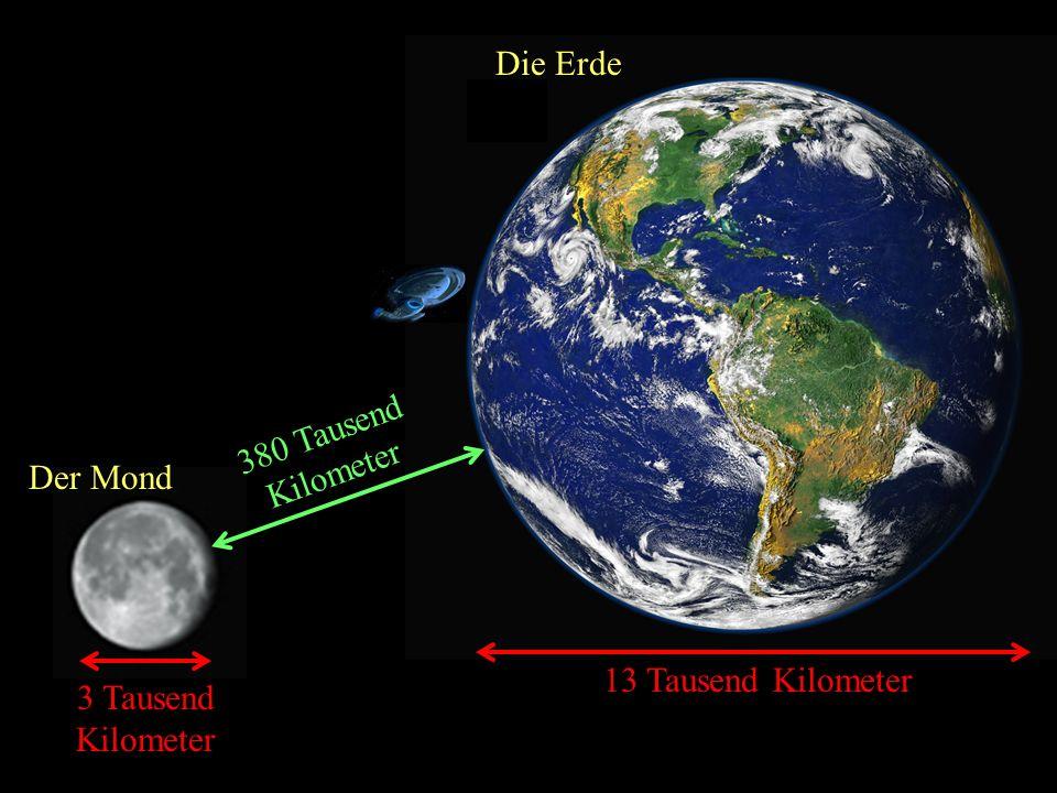 Die Erde 380 Tausend Kilometer Der Mond 13 Tausend Kilometer 3 Tausend Kilometer