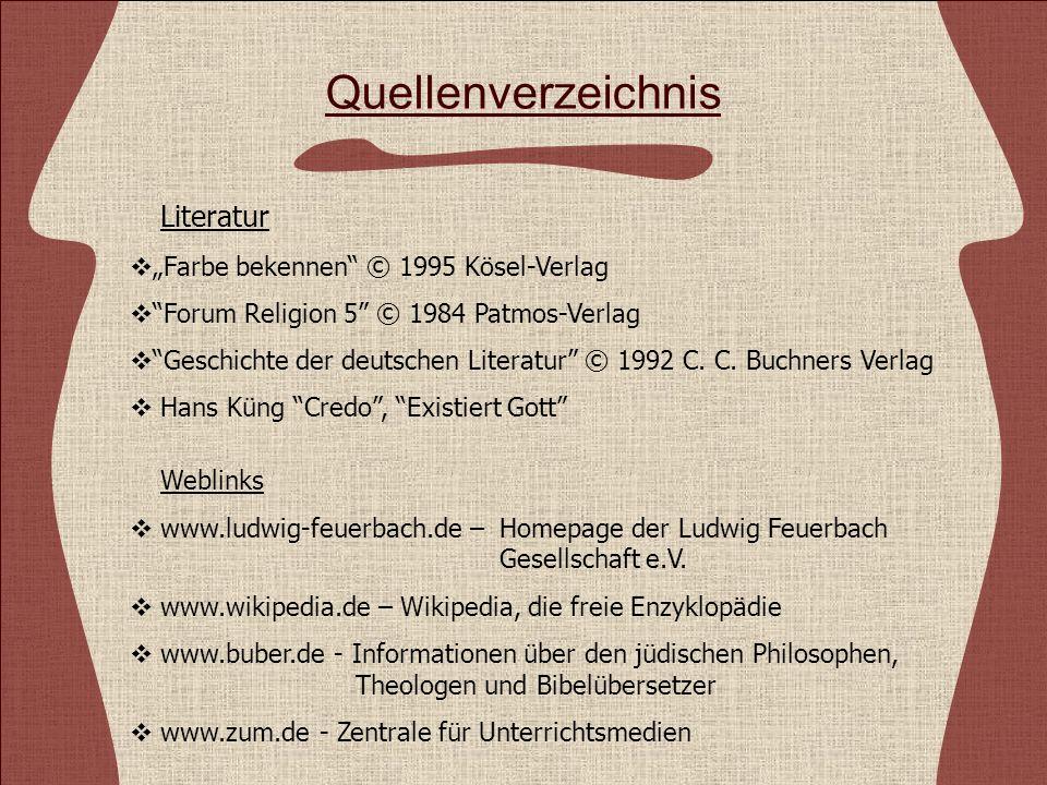 """Quellenverzeichnis Literatur """"Farbe bekennen © 1995 Kösel-Verlag"""
