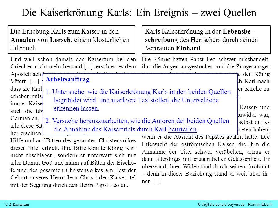 Die Kaiserkrönung Karls: Ein Ereignis – zwei Quellen