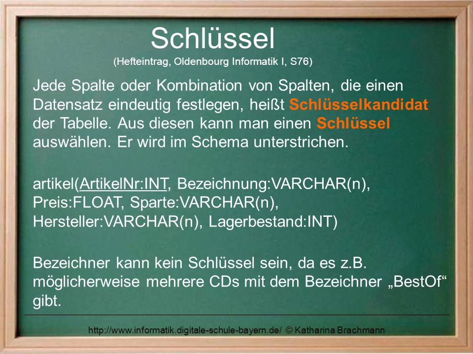 Schlüssel (Hefteintrag, Oldenbourg Informatik I, S76)