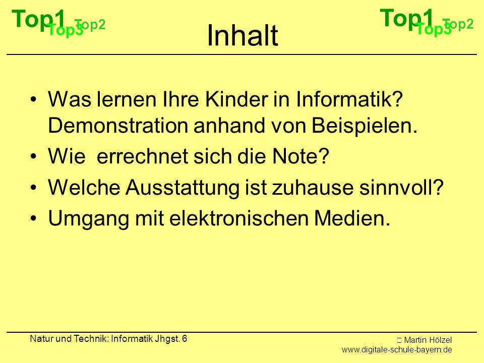 Top1 Top2. Top3. Top1. Top2. Top3. Inhalt. Was lernen Ihre Kinder in Informatik Demonstration anhand von Beispielen.