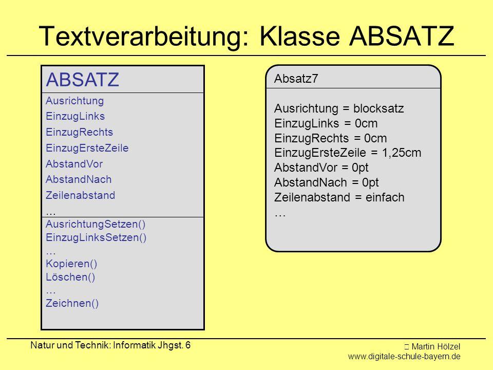 Textverarbeitung: Klasse ABSATZ
