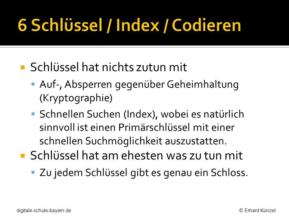 6 Schlüssel / Index / Codieren