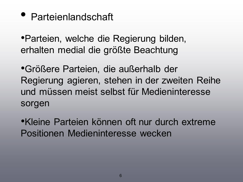 Parteienlandschaft Parteien, welche die Regierung bilden, erhalten medial die größte Beachtung.