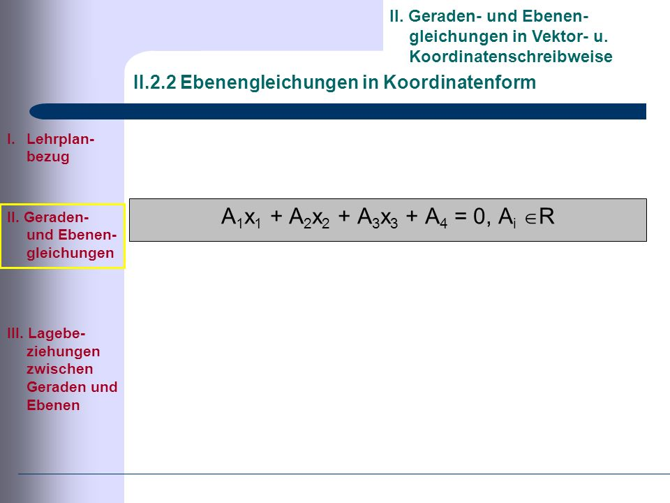 II.2.2 Ebenengleichungen in Koordinatenform