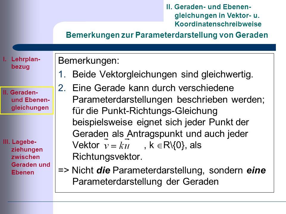 Bemerkungen zur Parameterdarstellung von Geraden