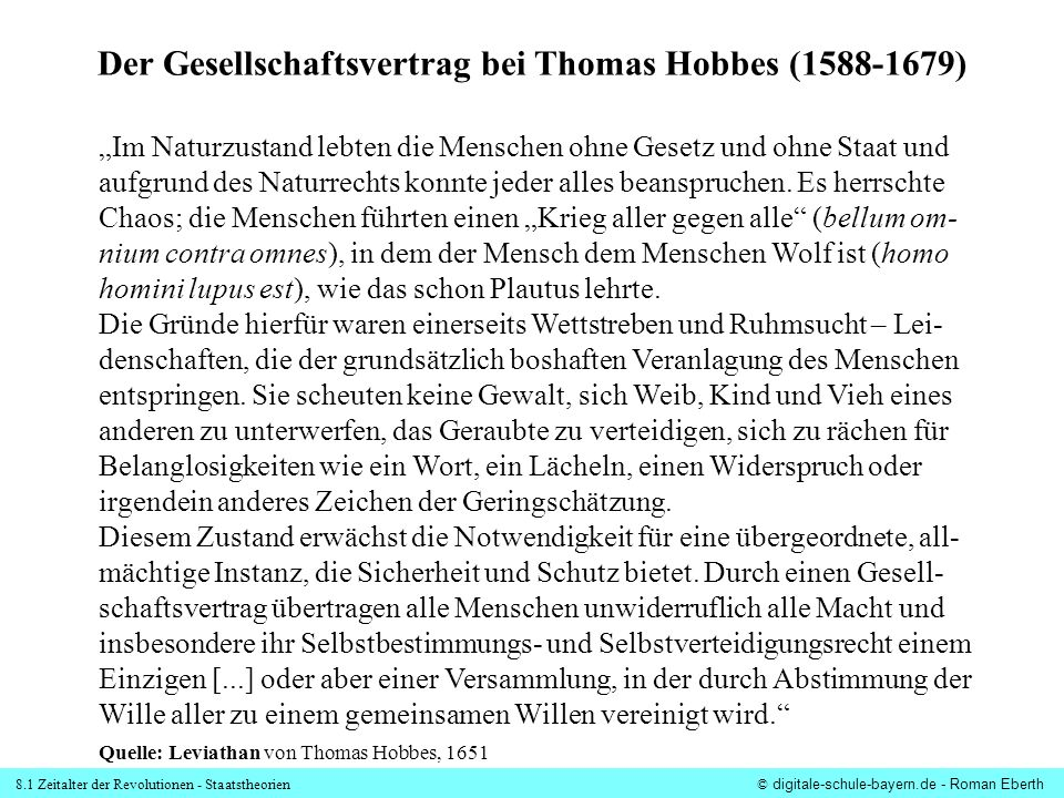 Der Gesellschaftsvertrag bei Thomas Hobbes (1588-1679)