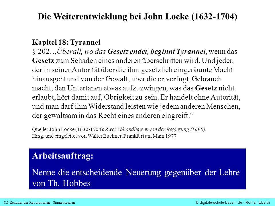 Die Weiterentwicklung bei John Locke (1632-1704)